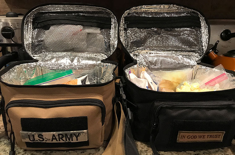 Two Tactical Lunch Bags filled with Lunch Food