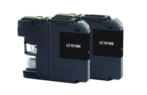 Black Ink Cartridges for Brother LC-101 2-Pack