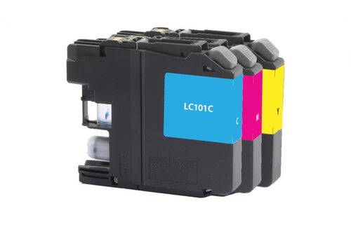 Cyan, Magenta, Yellow Ink Cartridges for Brother LC-101 3-Pack