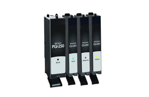 Black, Cyan, Magenta, Yellow Ink Cartridges for Canon PGI-250/CLI-251 4-Pack