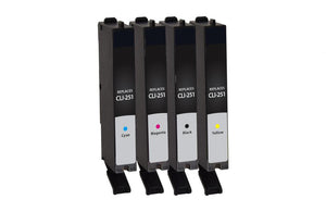Black, Cyan, Magenta, Yellow Ink Cartridges for Canon CLI-251 4-Pack