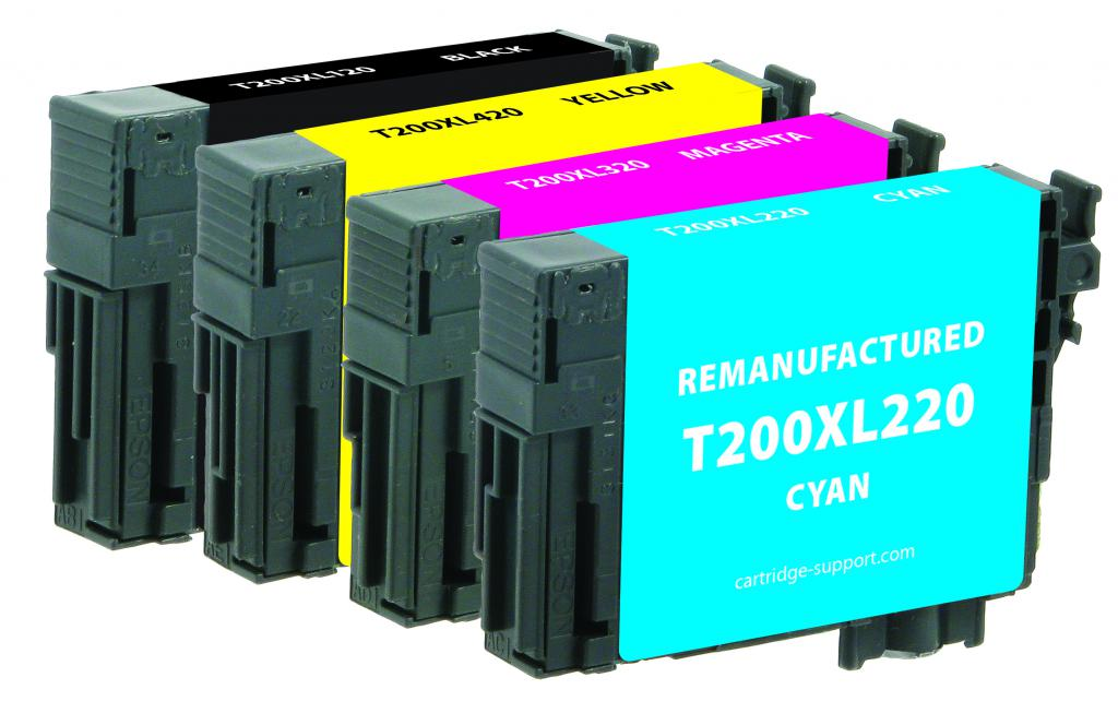 Black High Capacity, Cyan, Magenta, Yellow Ink Cartridges for Epson T200XL/T200