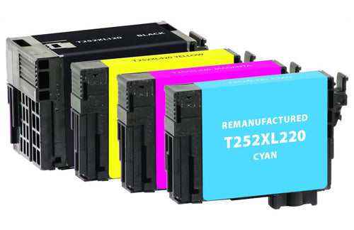 Black High Yield, Cyan, Magenta, Yellow Ink Cartridges for Epson T252XL/T252