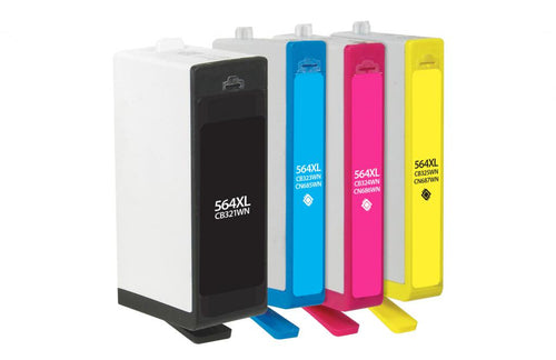Black High Yield, Cyan, Magenta, Yellow Ink Cartridges for HP 564XL/564