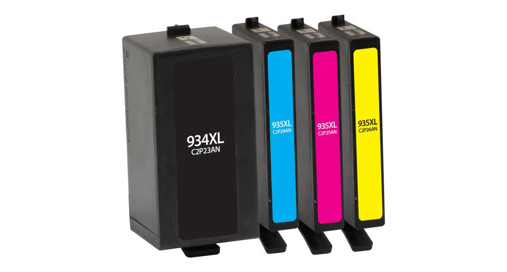 High Yield Black, Cyan, Magenta, Yellow Ink Cartridges for HP 934XL/HP 935XL 4-Pack