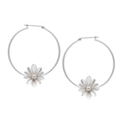 Couture  Sweet Daisies Pearl Hoop Earrings in Silver