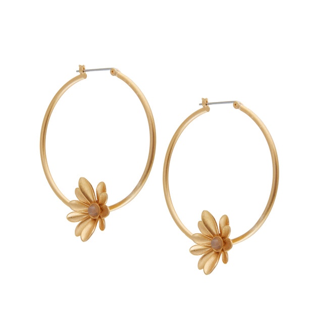 Couture  Sweet Daisies Grey Agate Hoop Earrings in Gold