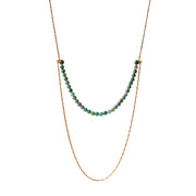 Fairytale Green Fields Double Layered Necklace in Gold