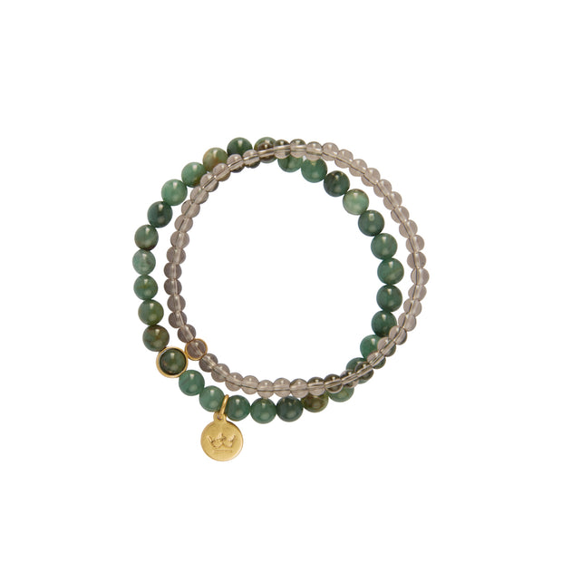 Fairytale Winter Spruce Double Bracelet with Green Onyx
