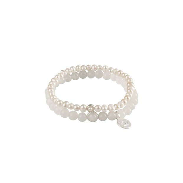 Fairytale Snow Fairy Double Bracelet with Pearls and White Jade