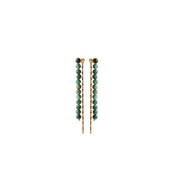 Fairytale Winter Spruce Long Earring with Green Onyx in Gold