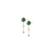 Fairytale Winter Spruce Earrings with Green Onyx and Crystal
