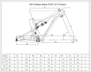 DCB F157 Pivot Mach Style Carbon Full Suspension Frame 27.5