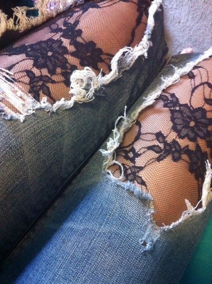 Make Distressed Denim Awesomeness With Stockings Or Tights
