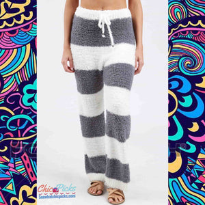 Pol Cozywear Graphite Gret Striped Berber Fleece Lounge sleep pants women's fashion Pajama Sleepwear At chic Picks boutique