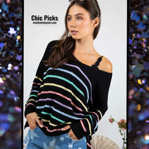 Dani and Davi Black Rainbow long Sleeve Oversized Off shoulder top women's fashion at chic picks boutique