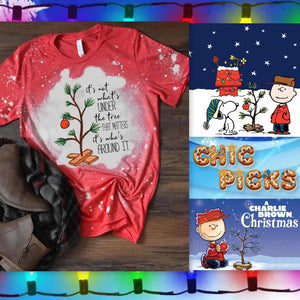 Charlie Brown Christmas Red Bleached Bella canvas Graphic Tee Women's fashion holiday apparel at chic picks boutique