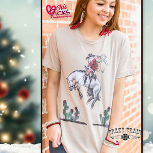 Crazy Train Clothing bucking broncho Santa short Sleeve Graphic Tee Women's winter holiday fashion at chic picks boutique