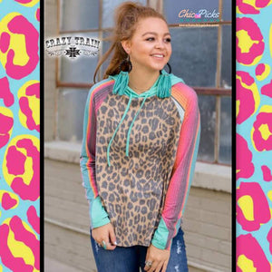Crazy Trains yas girl leopard and Serape hoodie