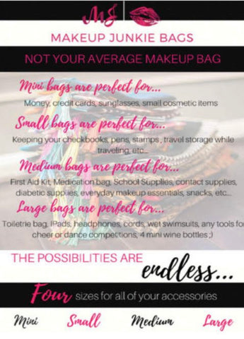 Makeup Junkie Bags not your average makeup bag list of uses for each size makeup Junkie Bag At chic picks boutique