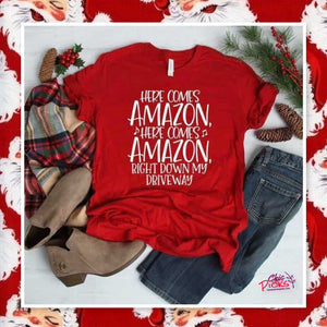Here comes Amazon red Bella Canvas Graphic Tee shirt Women's Holiday fashion at chic picks boutique