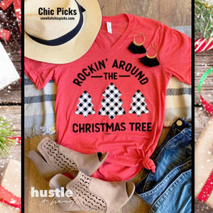Hustle and Heart Rockin Around the Christmas Tree Short Sleeve Graphic Tee Women's holiday Christmas Fashion t-shirts At chic picks Boutique