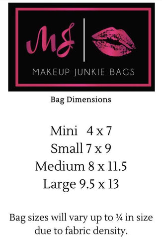 Makeup junkie Bag dimensions