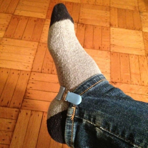 Using mitten clips to hold jeans in place