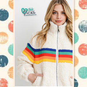 Papercrane Wool Zip up Ivory Teddy Coat with Rainbow Stripe Details Women's fashion Winter Coats and apparel at chic Picks boutique