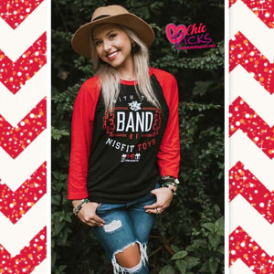 Southern Bliss Company Band Of Misfit Toys Raglan Sleeve Graphic Women's Fashion holiday apparel at chic picks boutique