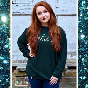 Southern Bliss Company Forest Believe Sweater Pullover Women's Christmas holiday winter wear at chic picks Boutique