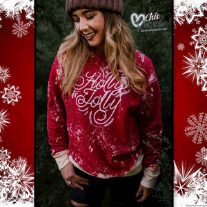 Southern Bliss Company holly jolly Bleached Christmas Sweatshirt Women's Holiday Christmas Fashion At Chic Picks Boutique
