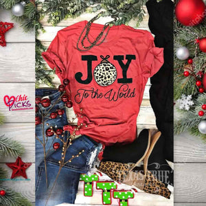 Texas True Threads red short Sleeve Leopard Christmas ornament Graphic Tee shirt top women's holiday fashion at chic Picks boutique and