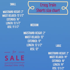 X-Large, 2x, and 3x size chart for crazy train shorts