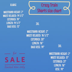 Small, Medium, and Large Size Chart for Crazy Train Shorts