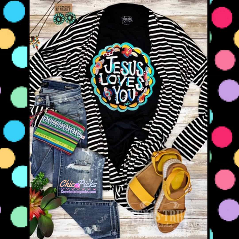 "Texas True Threads-""Jesus Loves You""-Bella Canvas Short Sleeve Graphic Tee with Colorful Polka Dots-Chic Picks"