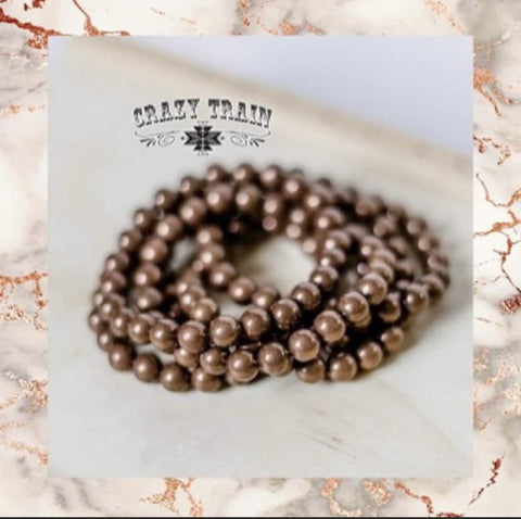 Crazy Trains Clothing Brass Bullet Beaded Stretch Bracelet Mix and match Buy 2 Get 1 Free Bronze Bracelet womens fashion jewelry and accessories at Chic Picks Boutique