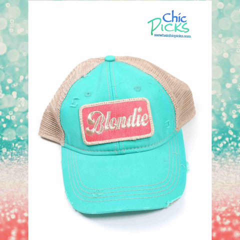 "Judith March Turquoise ""Blondie"" Adjustable Distressed Trucker Hat Cap At Chic Picks"