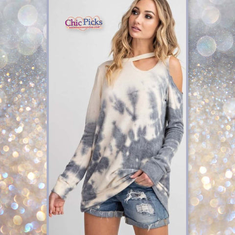 143 Story Long Sleeve Tie Dye Cut Out Cold Shoulder Top today's Fashion Trends At chic Picks Boutique