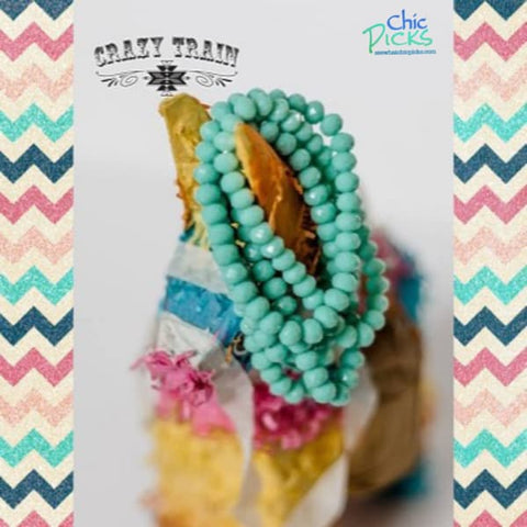 "Crazy Trains ""Native Addiction"" Turquoise Beaded Stretch Bracelet Mix and Match Buy 2 Get 1 Free-Chic Picks"
