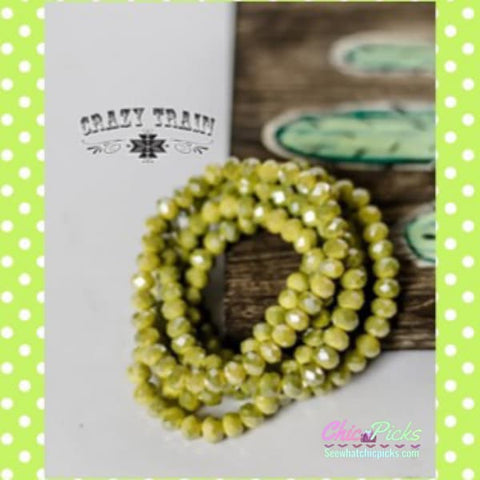 Crazy Train clothing Cactus Green Beaded stretch bracelet  Mix and match Buy 2 Get 1 Free Cactus Green Beaded Stretch Bracelet womens fashion jewelry bracelets at Chic Picks