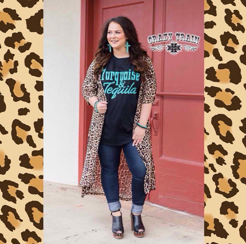 The Dixie Duster Leopard Animal Print Mesh OSFM Duster from Crazy Train