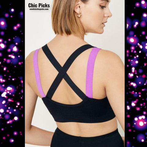 Hayden Las Angeles black and purple Neon Strappy Accent Sports Bra women's fashion sports accessories at chic picks boutique