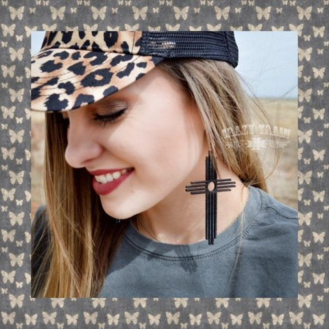 "Crazy Train Black Cross Earrings-""Carrying Your Love""-Jewelry Model promo-Chic"