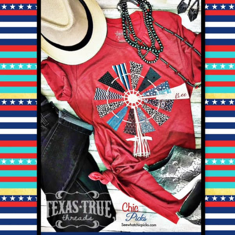 "Red Windmill Short Sleeve Graphic Tee-""Free Windmill""-Short Sleeve Graphic T-shirt Top-Chic Picks"
