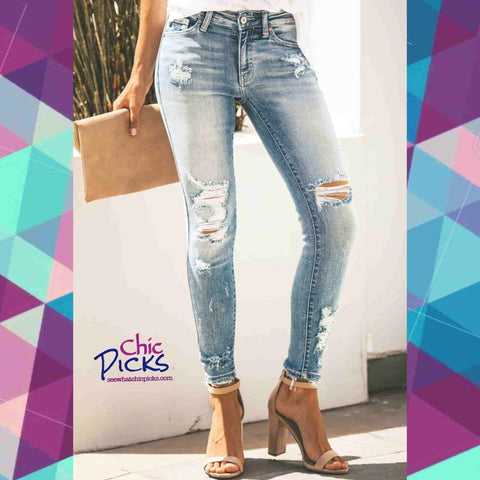 """Long As I KanCan See The Light""-Distressed Jeans-Chic Picks"
