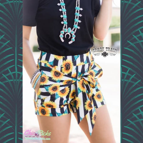 "Crazy Trains Sunflower Self Tie Front Bow ""My Happy Place"" Sunflower Shorts 