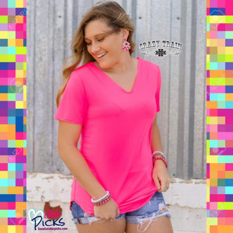 "Crazy Trains Neon Pink Butter Basic Short Sleeve Top with Raw Edge Neckline-""Neon Pink Butter""-Chic Picks"