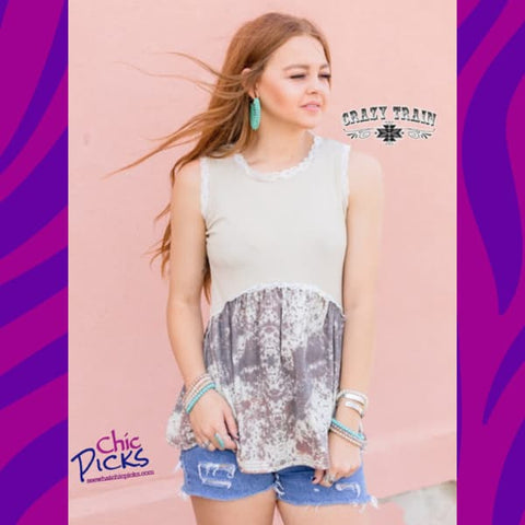 "Crazy Trains Cream and Cowhide Flow Tank ""Boss Hide"" at Chic Picks"