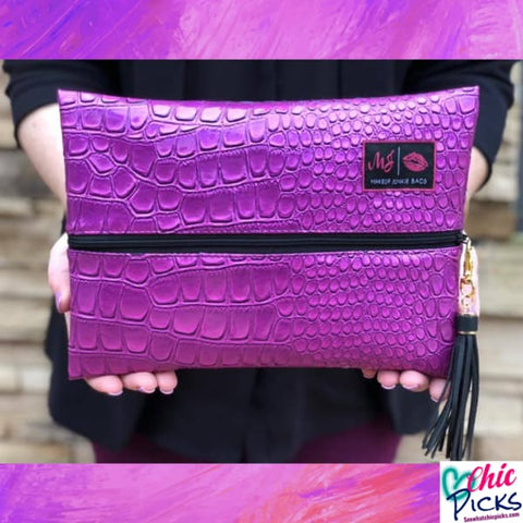 Makeup Junkie Cosmetic Bags Purple Kinda Pink Stylish Makeup Junkie Bags At Chic Picks